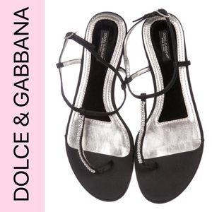 DOLCE & GABBANA Embellished Thong Satin Sandal BLK